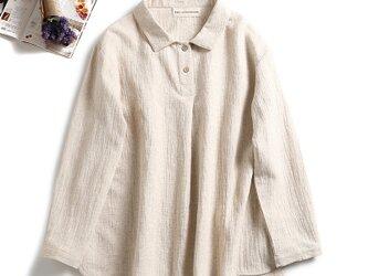 ★送料無料★onもoffもこれ一枚 大人の綿麻シャツ ブラウス 長袖 の画像