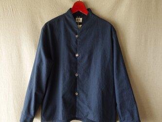 リネン混コットンyシャツジャケット長袖(紺)の画像
