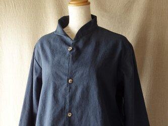 アシンメトリーカラーシャツジャケット(紺)の画像