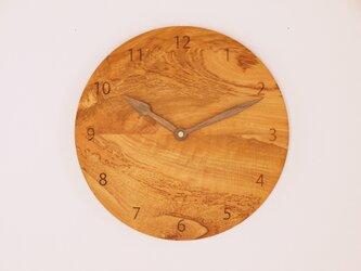 木製 掛け時計 丸型 桜材10の画像