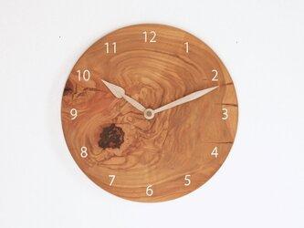 木製 掛け時計 丸型 桜材15の画像