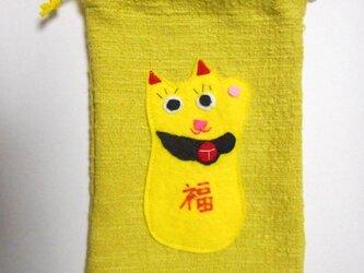 招き猫の巾着袋の画像