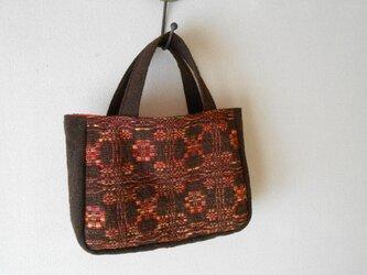 ウールバッグ 赤 手紡ぎ手織りの画像