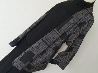 1217    着物リメイク    ジャケット    七分袖    泥大島紬    重ね枡模様の画像