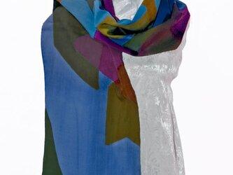 ウールモスリンストール青の画像