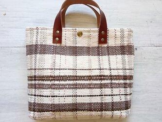 裂き織りのバッグM バニラ×チョコの画像