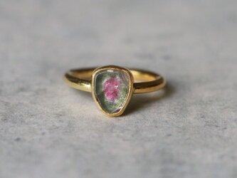 古代スタイル*天然スイカトルマリン 指輪*9.5号 GPの画像