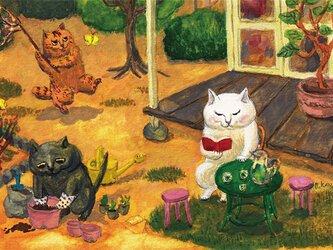 カマノレイコ オリジナル猫ポストカード「それぞれの時間」2枚セットの画像