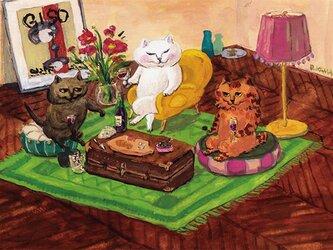 カマノレイコ オリジナル猫ポストカード「たのしいワイン」2枚セットの画像
