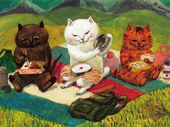 カマノレイコ オリジナル猫ポストカード「ひのまる弁当」2枚セットの画像