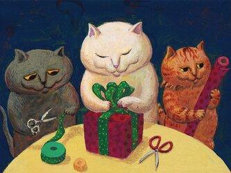 カマノレイコ オリジナル猫ポストカード「プレゼント」2枚セットの画像