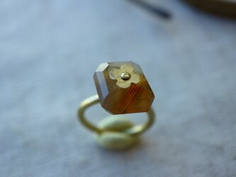 Brass Point Ring*ボツワナアゲート*真鍮リング*no.229の画像