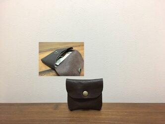 上質牛革 mini財布◆焦げ茶の画像