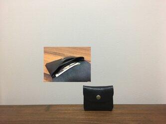 上質牛革 mini財布◆黒の画像
