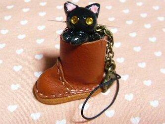 にゃんこのしっぽ○レザーブーツのストラップ〇黒猫〇ゴールドアイの画像