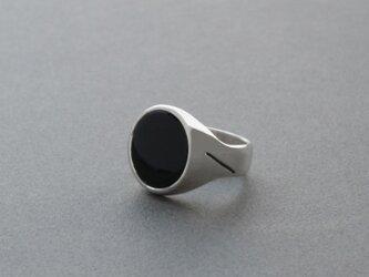 ブラック オニキス カボション シグネット リングの画像