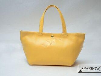 【刺繍入り】本革シンプルトートバッグ イエロー ブラウン レディース 【日本製】の画像