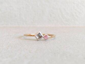 2stone ring -pink blue-の画像