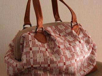 牛革×北欧手織りバッグ(赤)の画像