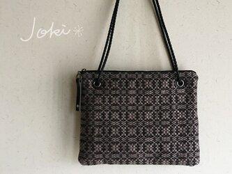 bag[手織りオーバーショット織  サコッシュ]ブラック×ベージュの画像