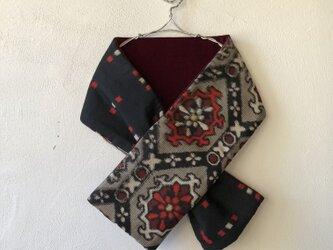 銘仙×別珍の小さな襟巻き261(赤)ストール ネックウォーマー プチマフラー リバーシブルの画像