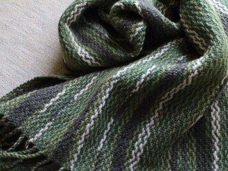 手織のブランケット 緑陰(りょくいん)の画像
