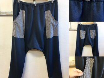 男女兼用❤️ストライプポケット柄ジャージ素材スウェットサルエルパンツ ネイビー(メンズ L、レディース L L)の画像