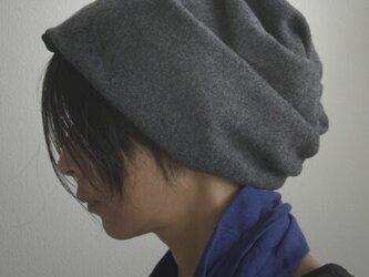 ターバンな帽子 ダークグレー+黒 送料無料の画像