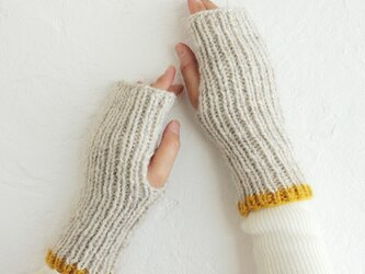 羊毛100% リブ編みハンドウォーマー ハーフミトン (ライトグレー/マスタード)の画像