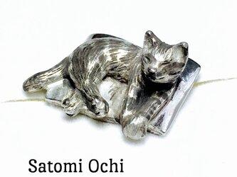 キジトラ猫のピンブローチSilverの画像