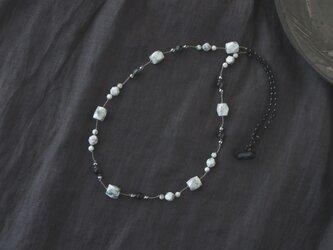 White&Black Necklace(ハウライト×イーグルアイ)の画像