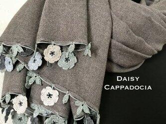 刺繍のお花つき パシュミナストール マリー グレーの画像