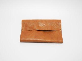 本革ポケットティッシュケース レザー 手縫いキャメル【受注製作】の画像