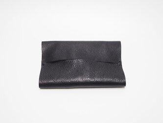本革ポケットティッシュケース レザー 手縫いブラック【受注製作】の画像