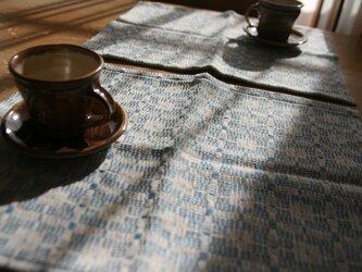 北欧手織りのランチョンマット(水色)の画像