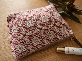 北欧手織りポーチ(赤)(大)の画像