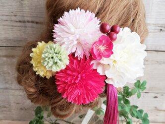 和風レトロポップ 桃花マムの髪飾り8点Set No378の画像