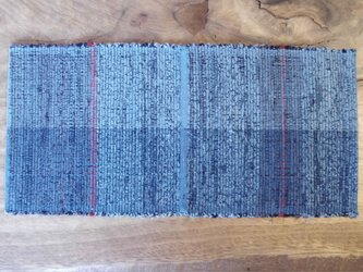 青色 木綿 裂き織ティーマット (再出品 柄違い)の画像