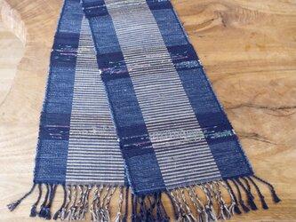 藍色 縞 テーブルセンター 裂き織り 木綿の画像