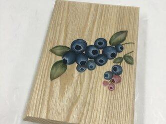 楓の木製 手描きのブルーベリー柄/御朱印帳【中】の画像