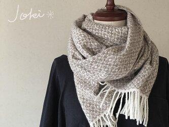 手織りオーバーショットカシミヤショール サンドベージュの画像