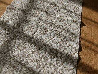 北欧手織りのミニテーブルセンター(ベージュ)の画像