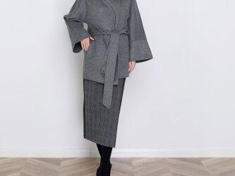 16色 手縫い カシミヤウール リバーシブル生地 ゆったり コート<新作>の画像
