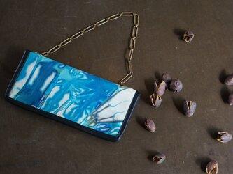 絞り染めSheep-LEATHERお財布bag-#blue-color《送料無料》の画像