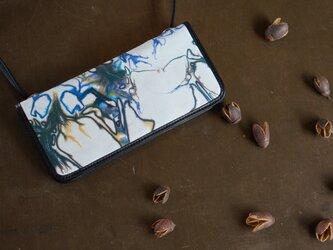 絞り染めLEATHERお財布bag-#navy-color《送料無料》の画像