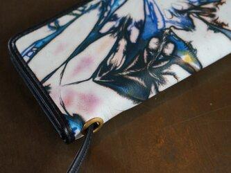 絞り染めLEATHERお財布bag-#navy3-color《送料無料》の画像