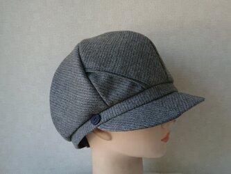 魅せる帽子☆ペンシルストライプのキャスケット~グレーの画像