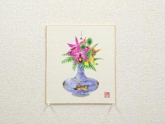 日本画色紙 「亥年飾り」の画像