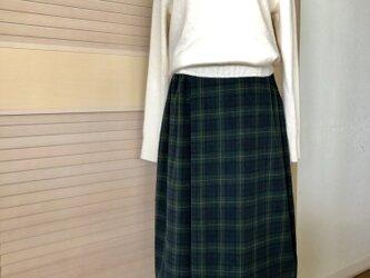 送料込・コーディロイタックスカート・緑と紺、朱色のチェック・ウエスト半分ゴムの画像