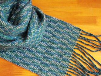 手織のマフラー 小鴨色(こがもいろ)-1の画像